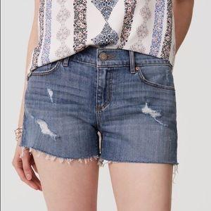 Loft distressed cut off denim shorts light indigo